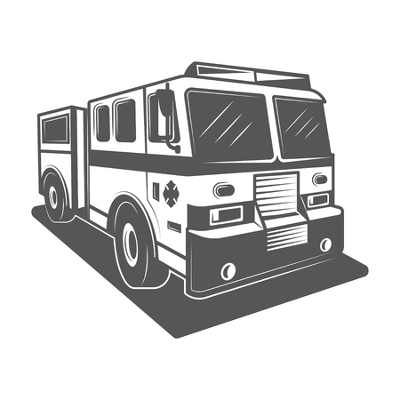 Fire truck vector illustration in monochrome vintage style. Vectores