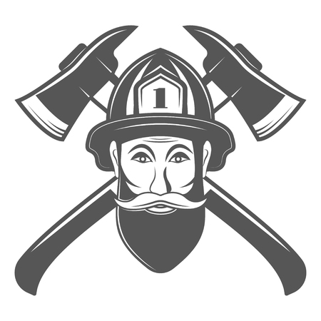 Hipster man in fireman hat with two axe vector illustration in monocrome vintage style. Vectores