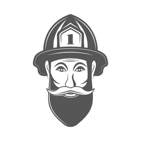 Hipster man in fireman hat vector illustration in monocrome vintage style.