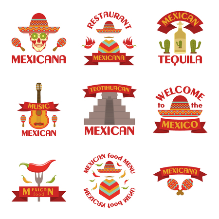 Mexican set of vector emblems, labels, badges and logos on white background.