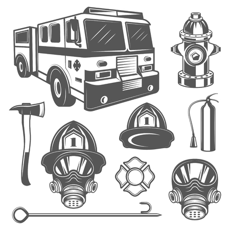 Set of vintage firefighter and fire equipment icons in monochrome style. 矢量图像