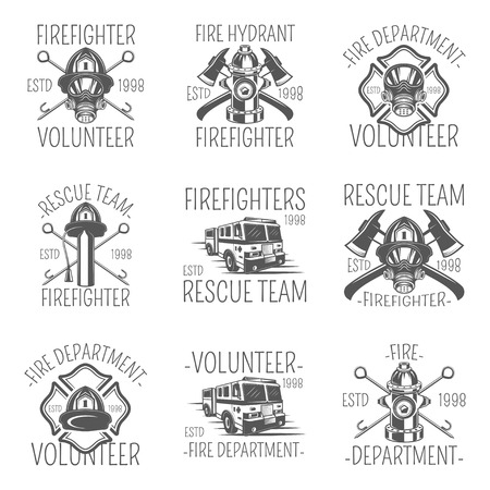 Set of firefighter in monochrome style logos, emblems, labels and badges.