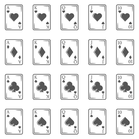 Poker cards vintage icons in monochrome style. Flash royal combination. 矢量图像