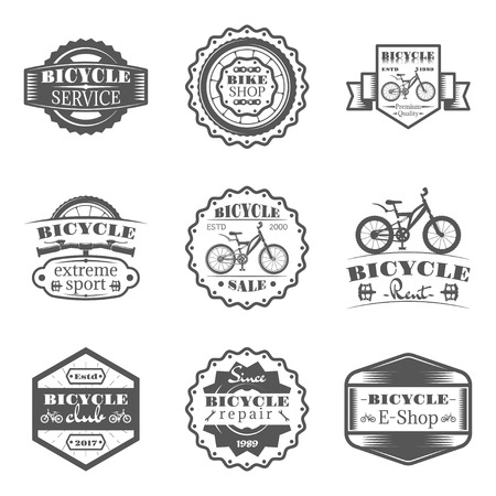 Set of bicycle shop, rent, service, sale, club, repair in monochrome style logos, emblems, labels and badges. Vectores