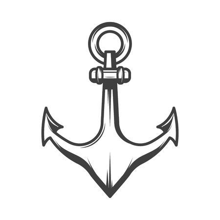 Nautical anchor vector illustration in monochrome vintage style. Design element for logo, label, emblem.