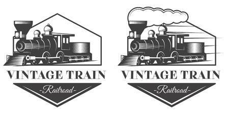 モノクロ ヴィンテージスタイルの機関車のエンブレム イラスト 写真素材