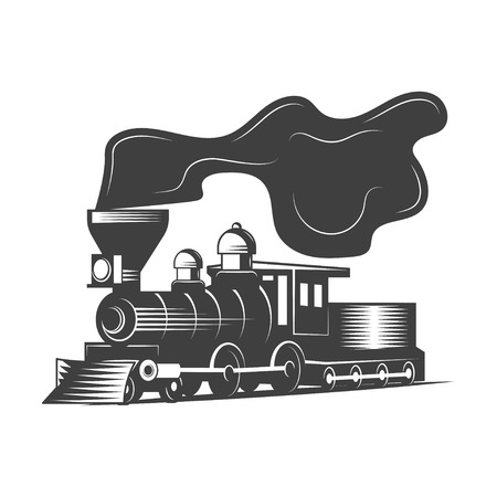 Locomotive vector illustration in monochrome vintage style.