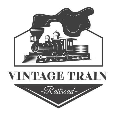 Locomotive emblem illustration in vintage monochrome style