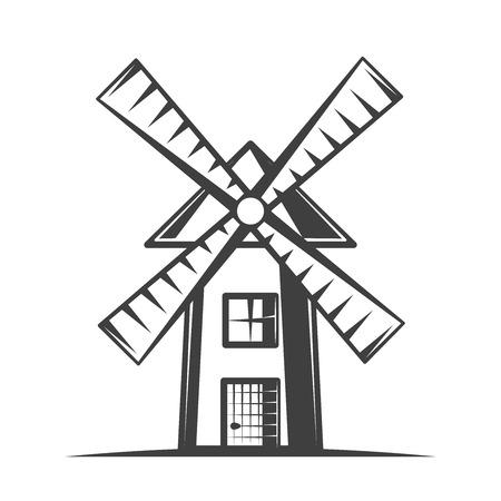 Windmill vector illustration in monochrome vintage style