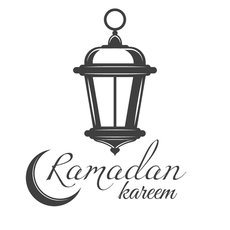 Lantern or fanous hanging with crescent moon for ramadan kareem vector greetings design in monochrome vintage style Vectores