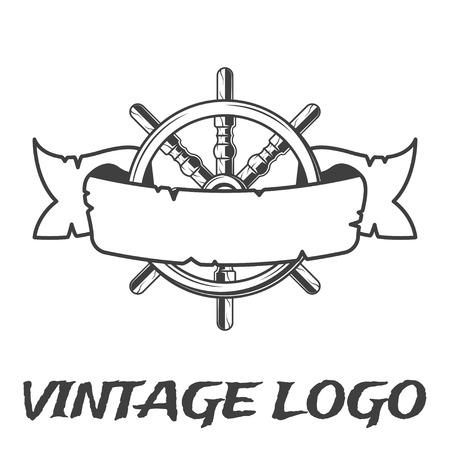 Vintage ribbon and handwheel emblem. Pirate logo in monochrome vintage style.
