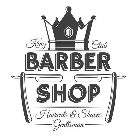 Crown and two razors, barber shop vintage label, badge, or emblem