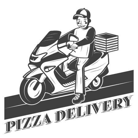 Boy on scooter, pizza delivery vector vintage label, badge, or emblem Vectores