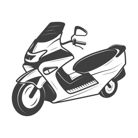 Scooter vectorillustratie in zwart-wit vintage stijl