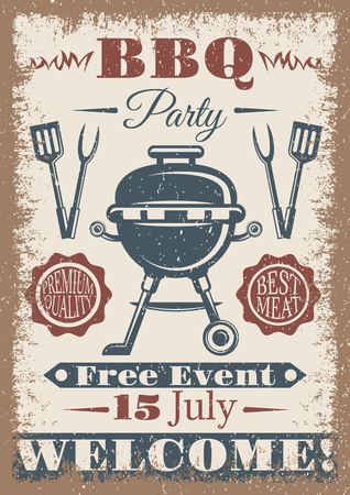 BBQ party vintage colored poster Vectores