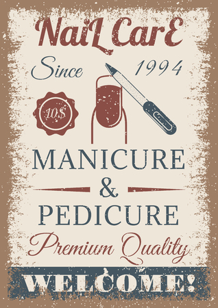 Manicure and pedicure vintage colored poster