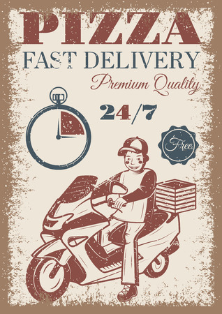 Pizza delivery vintage colored poster