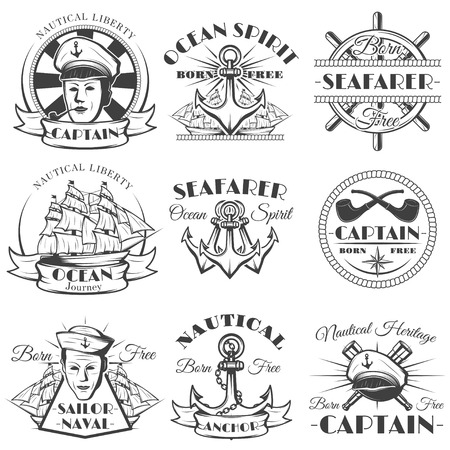 Sailor naval vector vintage label, badge, or emblem in monochrome style. Vectores