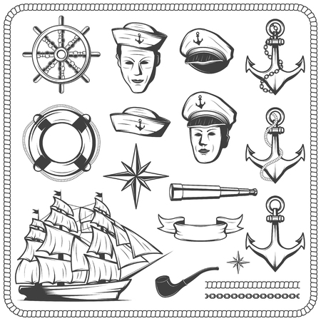 Vintage sailor naval icon set in monochrome style illustration