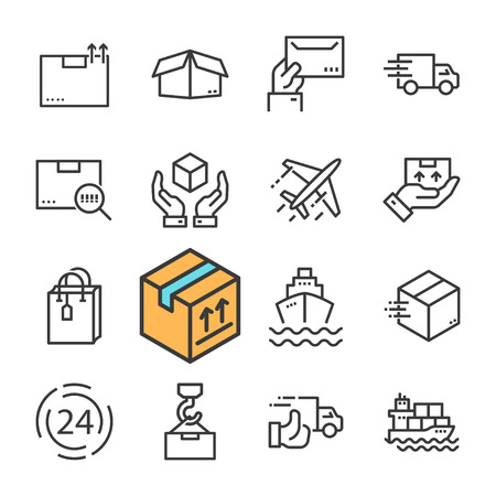 Black line Delivery icons set. Express Delivery, Fast Delivery, Tracking Order. Vectores