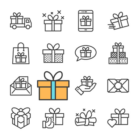 Vector black line Gifts icons set Vectores