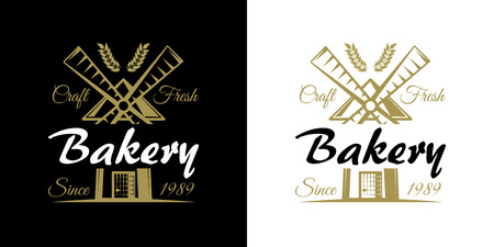Bakery set of vector vintage emblems, labels, badges and logos with golden wheat and windmill