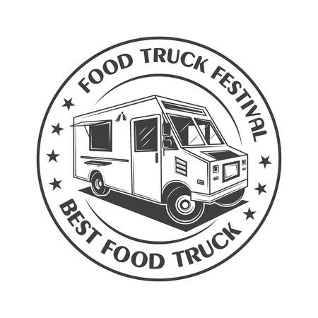 Food truck festival vintage logo,label, badge, or emblem in monochrome style