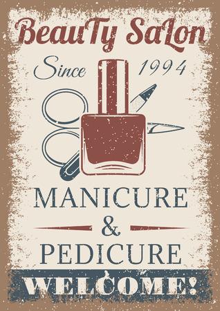 Beauty salon vintage colored poster. retro style