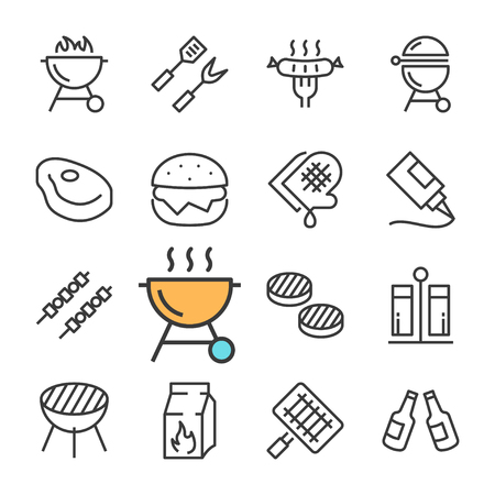 Vector black line Barbecue icons set. Includes such Icons as BBQ, Grill, Beer, Meat.