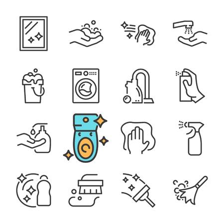 Ligne noire Vector Nettoyage ensemble d'icônes. Comprend des icônes telles que Surface propre, Poussière, Mousse, Détergent.