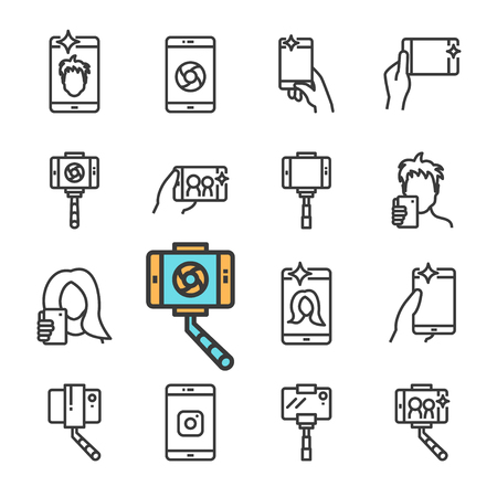 Vector black line Selfie icons set. Includes such Icons as selfie stick, smartphone, front camera, Smartphone in hand. Vectores