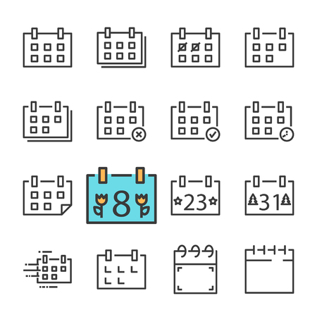 Vector black line Calendar icons set. Includes such Icons as Calendar, Rejected. Approved, Holiday.