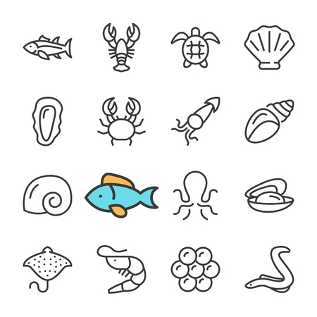 Vector black line Seafood icons set. Includes such Icons as Shrimp, Fish, Crab, caviar. Sea Food