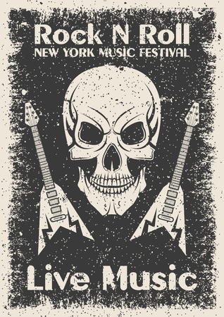 Vintage rock n roll poster. Skull and guitar typographic for print, t-shirt, tee design. Vector illustration Vectores