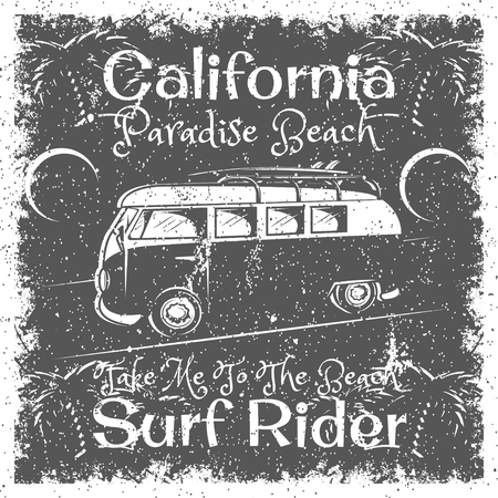 Vintage California Beach poster. Surf Rider typography for print, t-shirt, tee design.