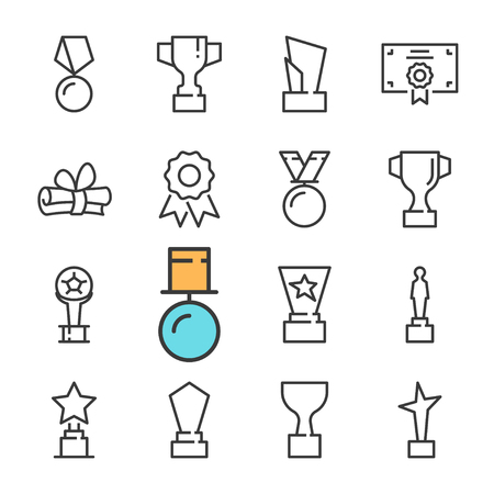 Vector black line Awards icons set. Includes such Icons as cup, Medal