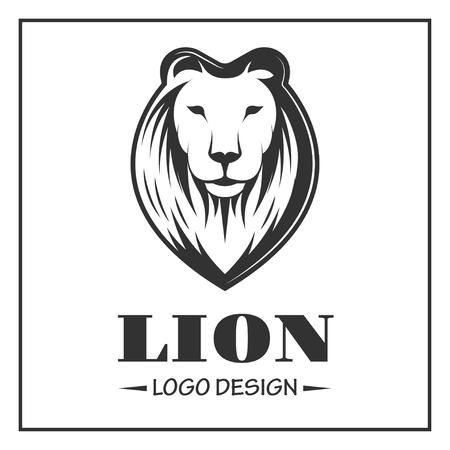 Lion logo in monochrome style on white background
