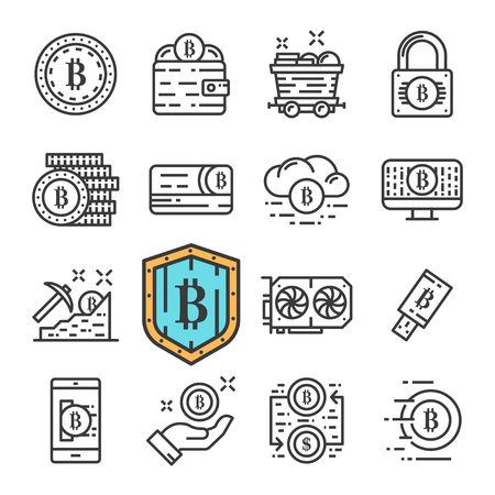 Vector black line Bitcoin icons set. Includes such Icons as Cryptocurrency, Mining, Online Money, Coin. Ilustração