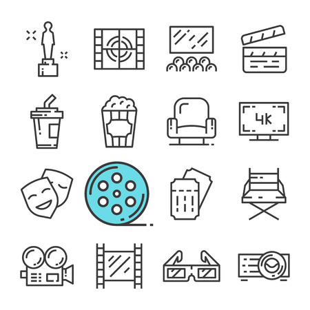 Vector black line Cinema icons set. Includes such Icons as Award, Hall, Ticket, Popcorn.