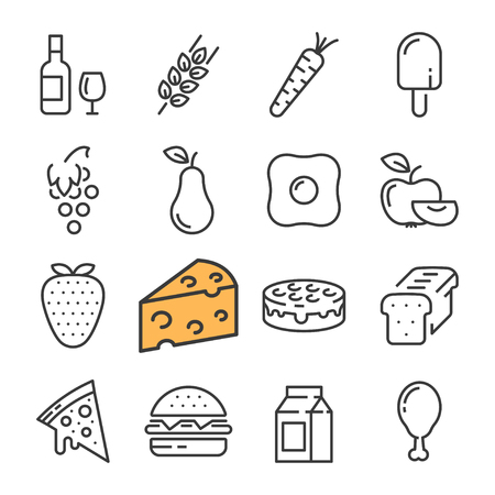 Black line food icons set. Includes such Icons as barrel Wine, Cheese, Wheat, Strawberry, Pizza.