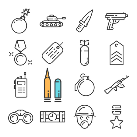 Black line military icons set. Includes such Icons as Tank, Knife, Bomb, Soldier.