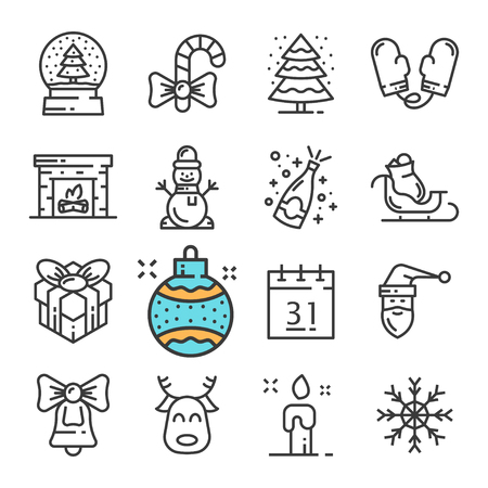 Vector black line Christmas and New Year icons set. Includes such Icons as Snowman, Mittens, Snow, Gift, Fireplace.