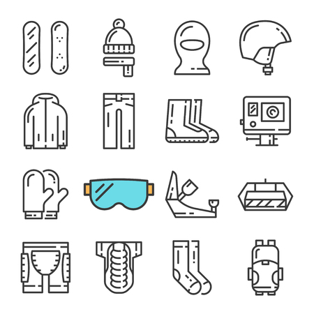 Vector black line Snowboarding icons set. Includes such Icons as Snowboard, Armor, Web Camera, Balaclava.