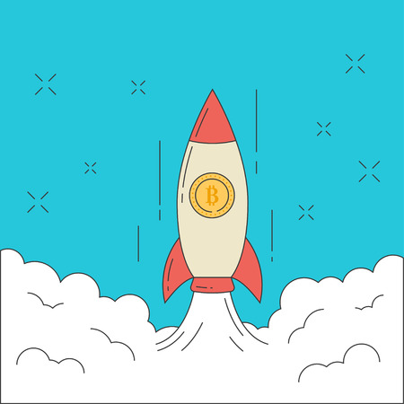 Line flat design vector illustration of rocket with bitcon taking off into space