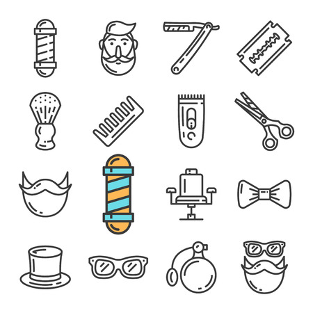 Vector black line Barber Shop icons set. Includes such Icons as Pole, Chair, Hipster, Razor. Pictogram Vectores