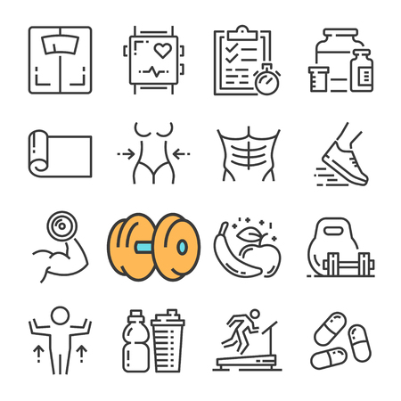 Vector black line Fitness Gym Equipment icons set. Includes such Icons as Equipment Fitness, Body Woman and Man. Vectores