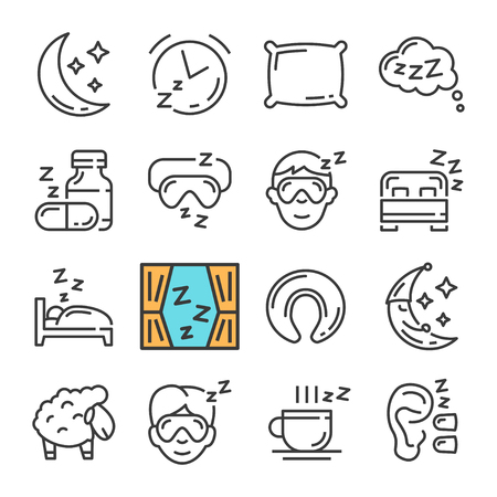 Vector black line Sleep icons set. Includes such Icons as Moon, Pillow, Sheep.
