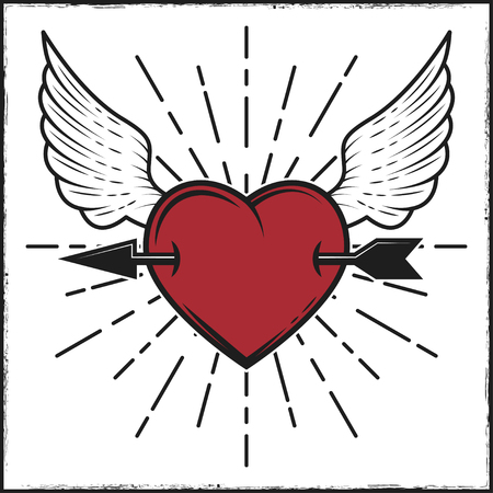 Arrow in heart and wings colored print with rays. Vector illustration in vintage style.