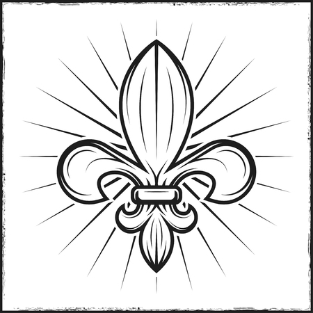 Heraldic lily print with rays. Vector illustration in vintage monochrome style.