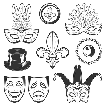Set of vintage Mardi Gras decorating elements in monochrome style Vectores